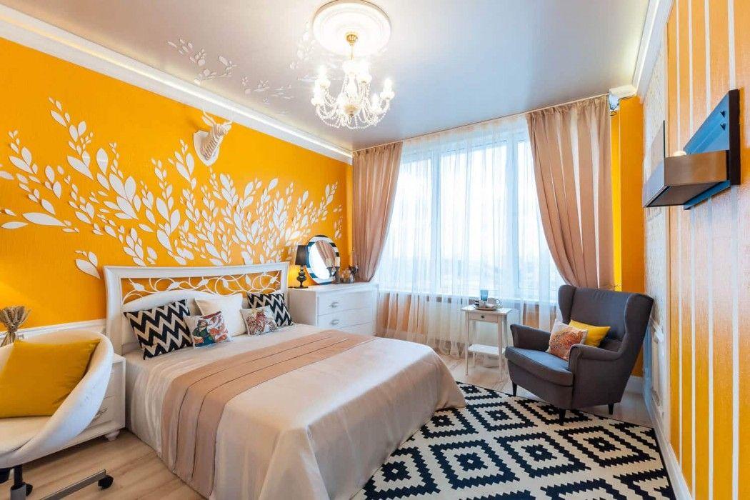 Вариант оформления жёлтой спальни.