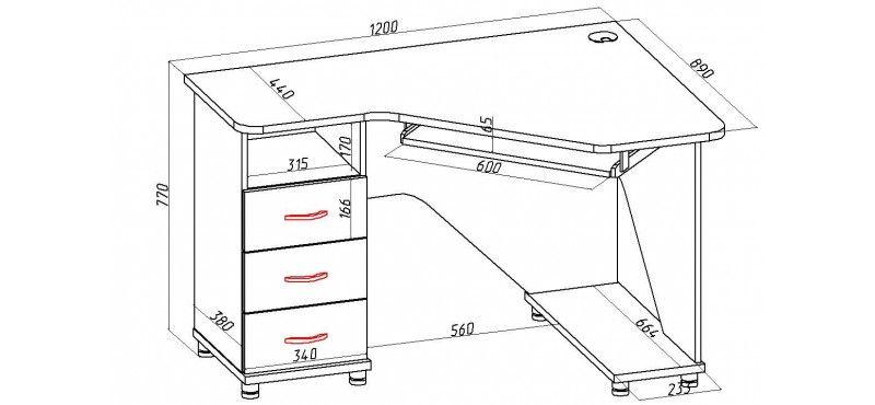 Стандартные размеры компьютерного стола