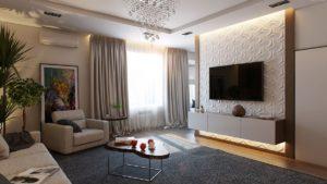 Размещать телевизор в центре гостиной