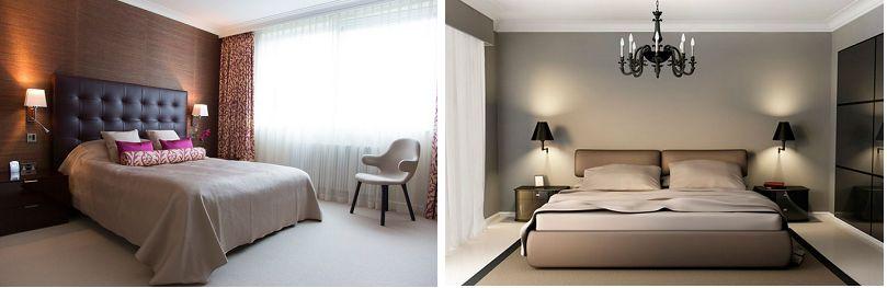 Комфортное размещение бра над кроватью.