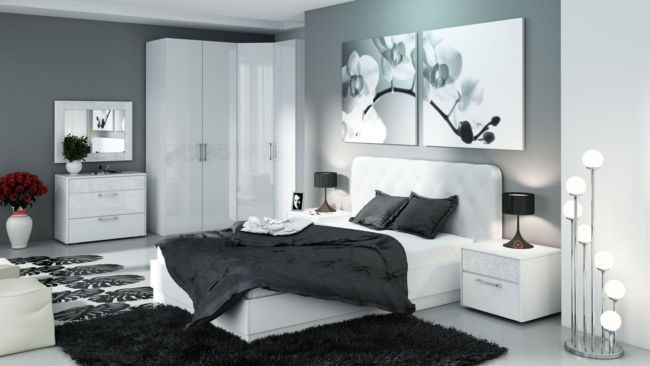 спальня в черно-белом дизайне