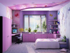 фотообои в фиолетовую спальню