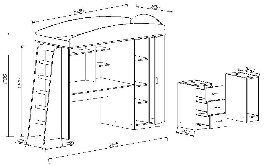 Схема варианта конструкции кровати чердака.