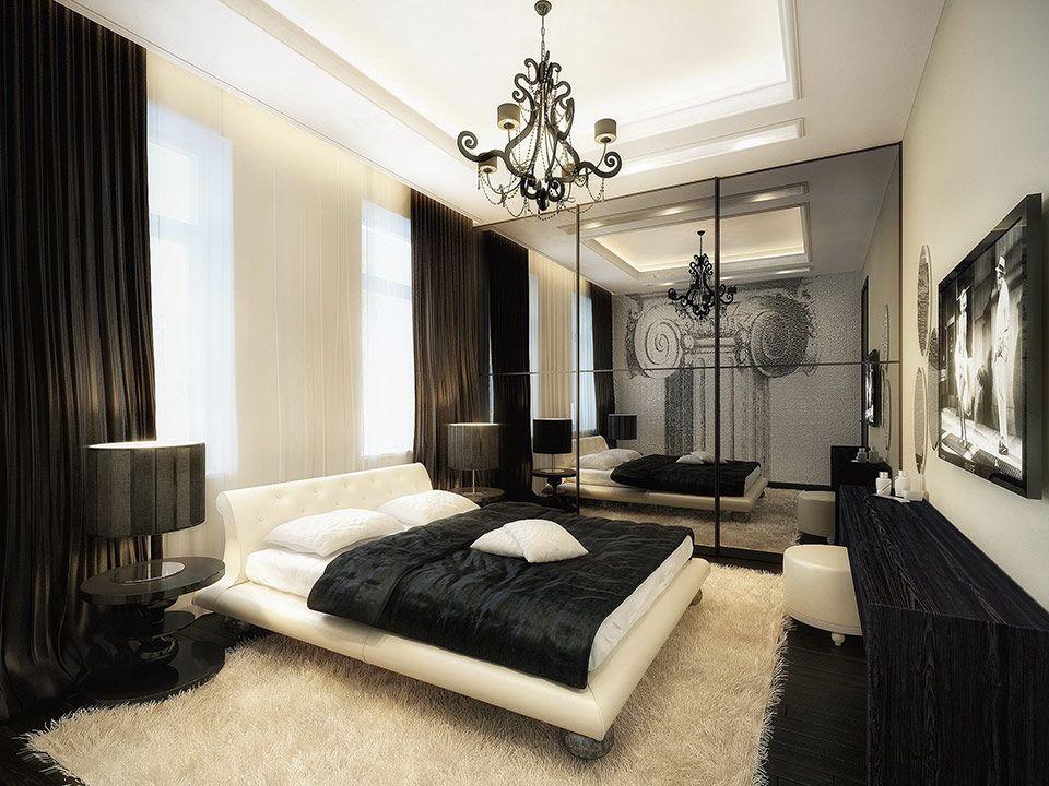 стиль комнаты чёрно-белый