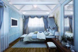 оформление спальни в серо-синих оттенках