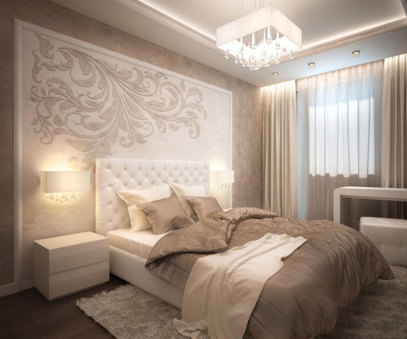 бежевая спальня неоклассика
