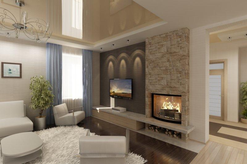 Раздельное размещение камина и телевизора.