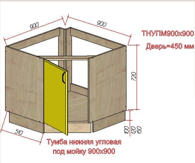 чертеж угловой тумбы