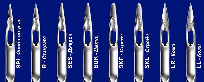 виды игл для разных тканей
