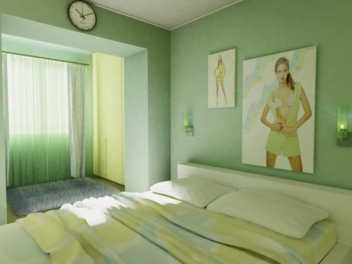 комната с зелеными обоями