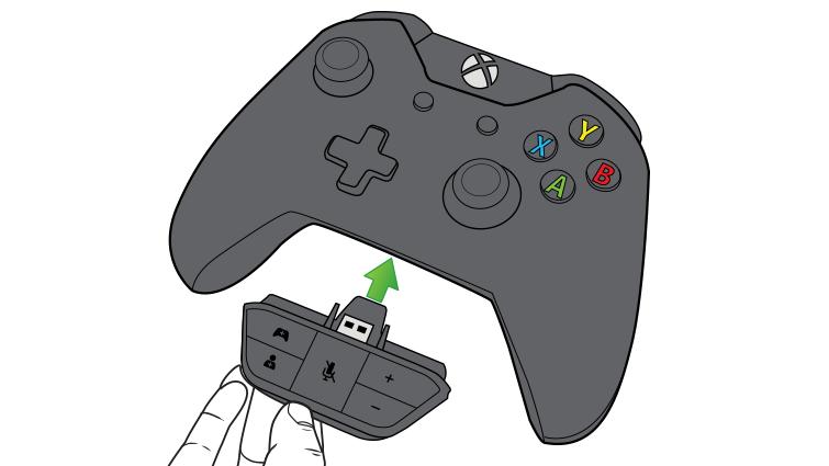Подключение гарнитуры к адаптеру для стереогарнитуры Xbox One