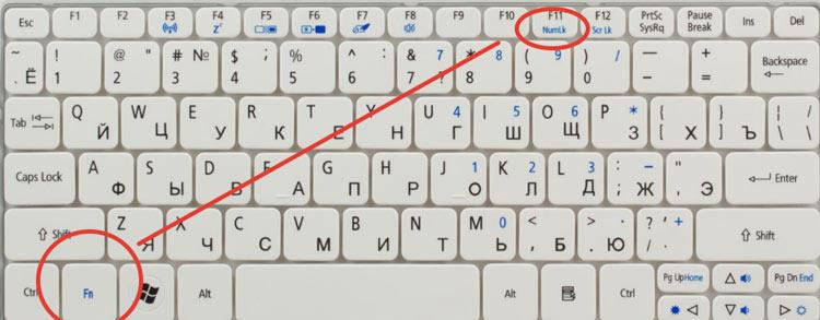 Сочетание клавиш NumLK и Fn.