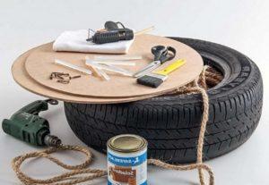 инструменты для создания пуфиков из покрышек