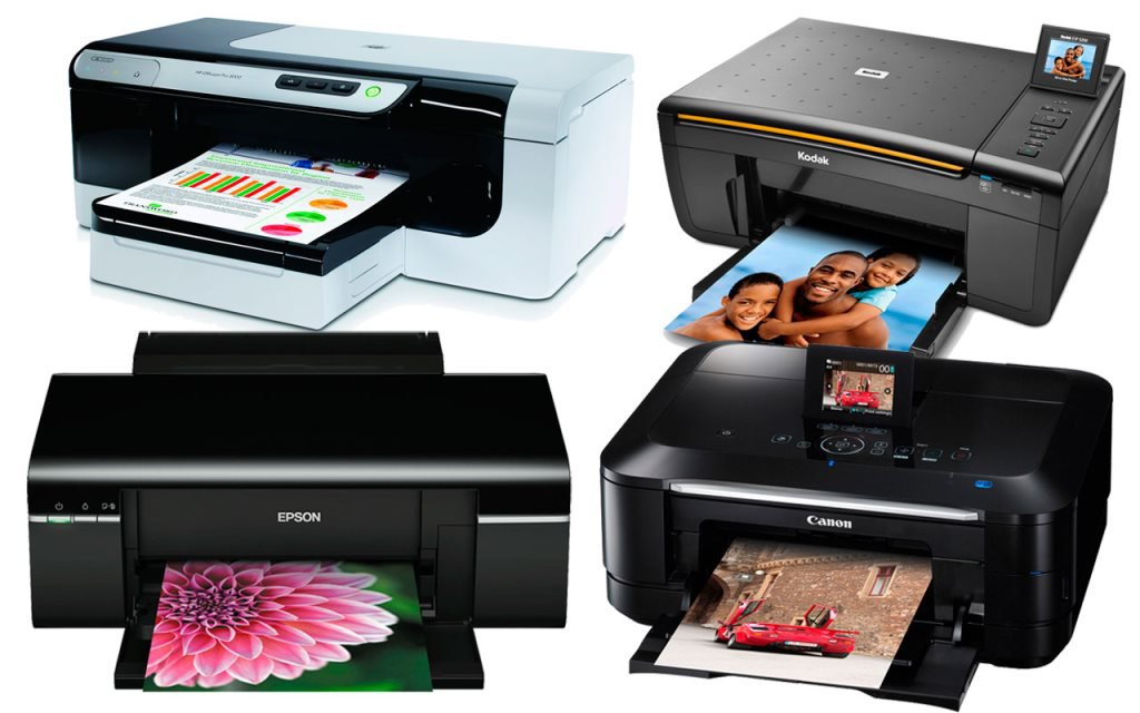 Разные модели принтеров.