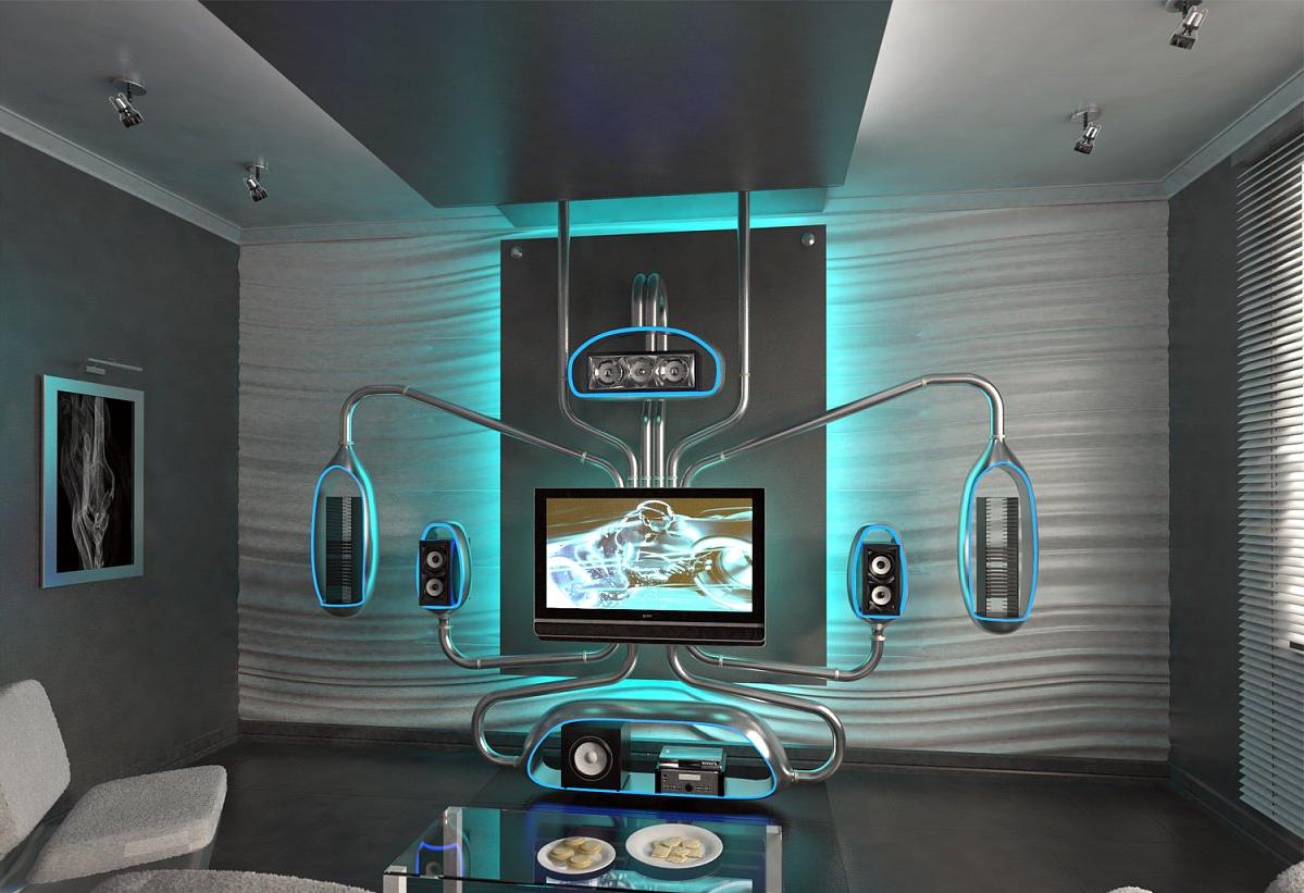 Необычный дизайн комнаты для домашнего кинотеарта.