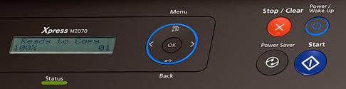 """Кнопка """"Стоп"""" на принтере Самсунг."""