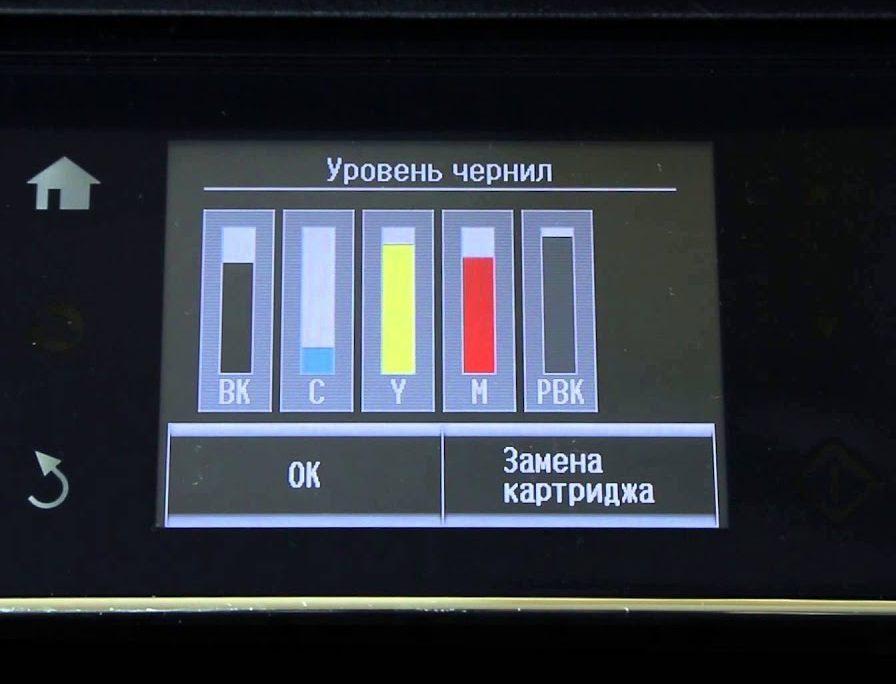 Уровень чернил на дисплее принтера.
