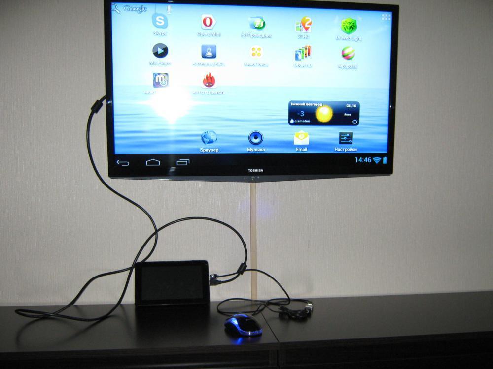 Подключение планшета через HDMI.