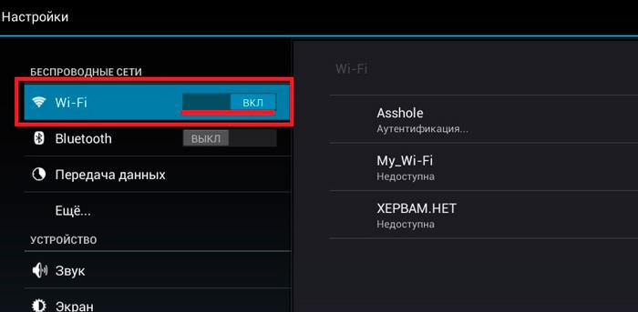 Включенная сеть Wi-Fi.