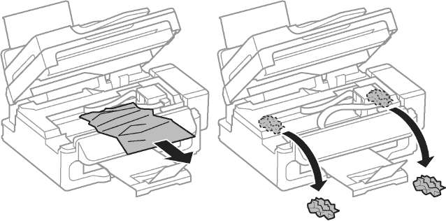 Извлечение застрявшей бумаги из внутренних частей принтера.