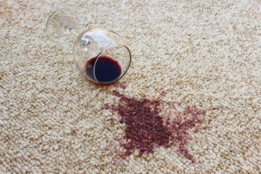 43929743 — glass of red wine fell on carpet, wine spilled on carpet