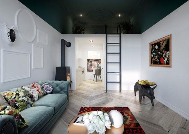 чёрный потолок в интерьере гостиной