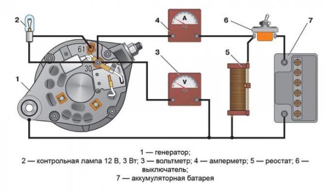 Схема подключения генератора.