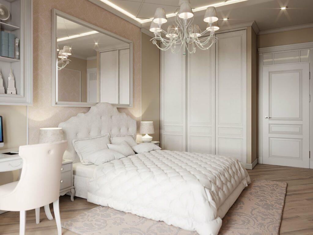 Бежево-белая спальня.
