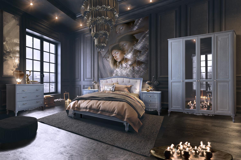 Серо-чёрная спальня.