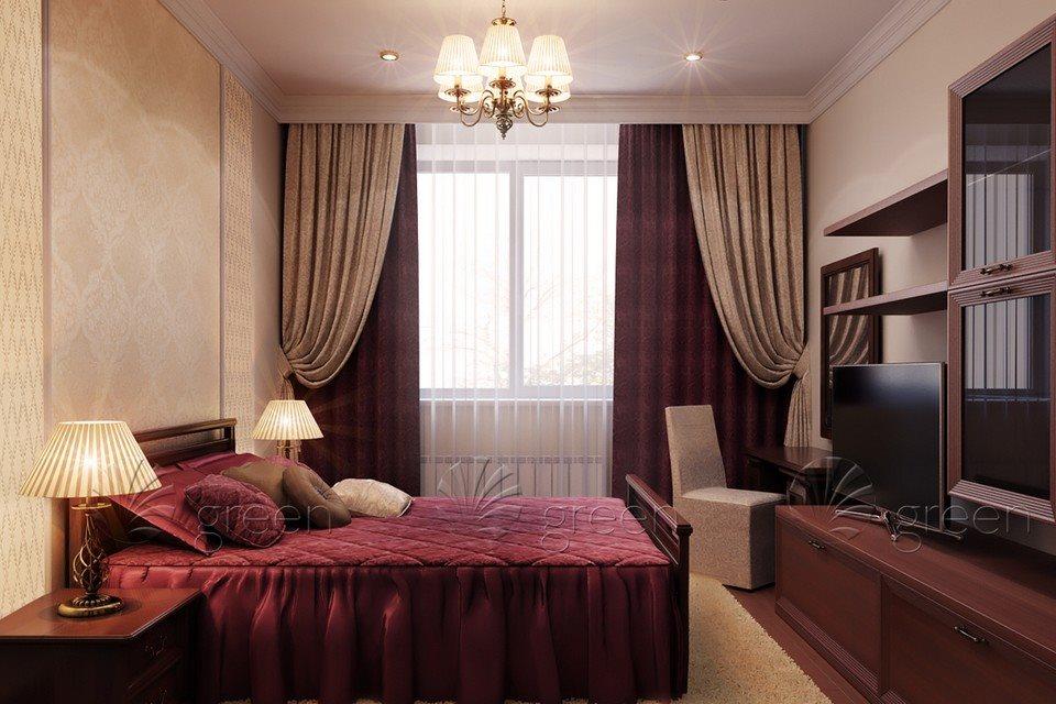 Бежево-бордовая спальня.