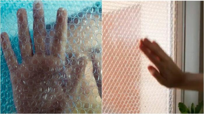 Воздушно-пузырчатая плёнка на окнах.