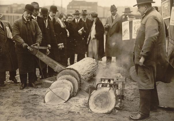 демонстрация бензопилы